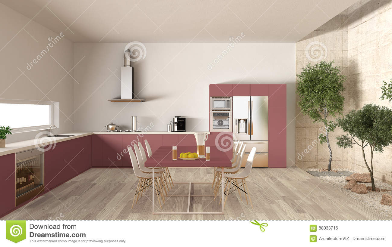 White And Red Kitchen With Inner Garden Minimal Interior Design Stock Photo Image Of Chair Loft 88033716
