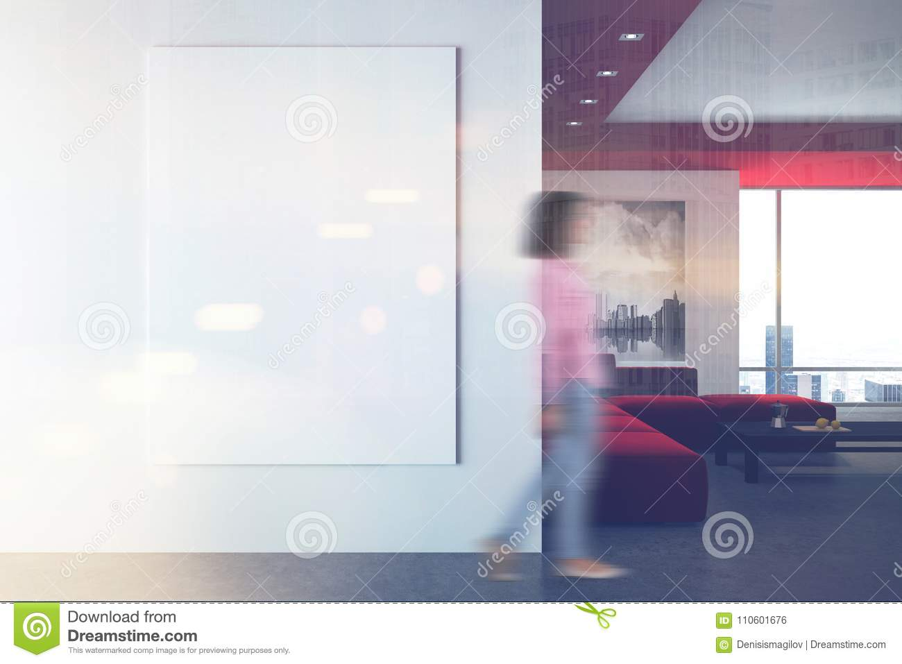 White And Red Living Room, Poster, Wall Blur Stock Photo - Image of ...