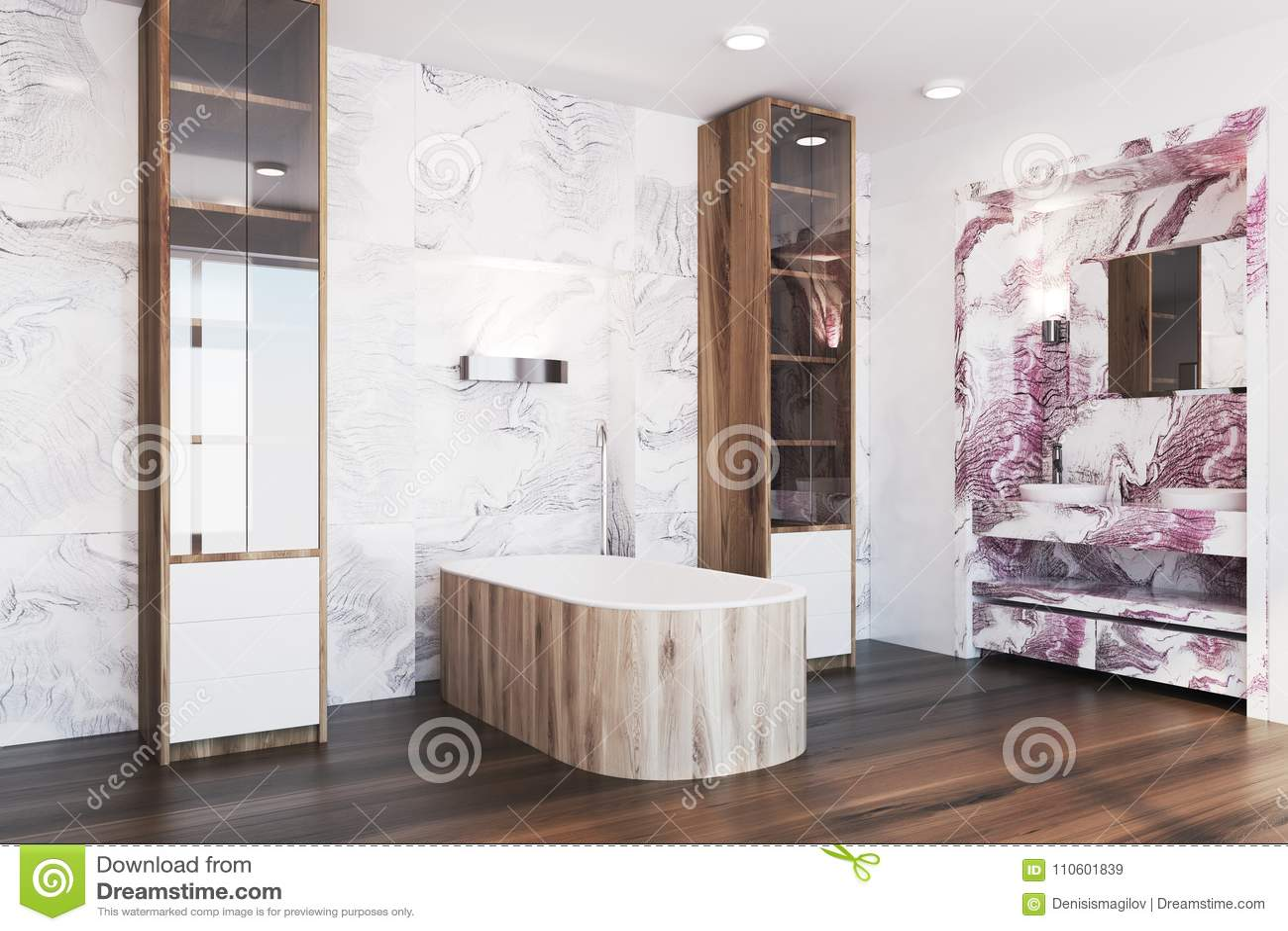 White And Red Marble Bathroom Interior Side Stock Illustration Illustration Of Fresh Bathtub 110601839