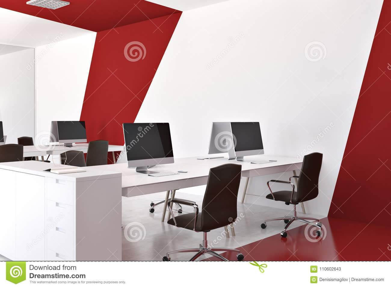 Red And White Modern Office Corner