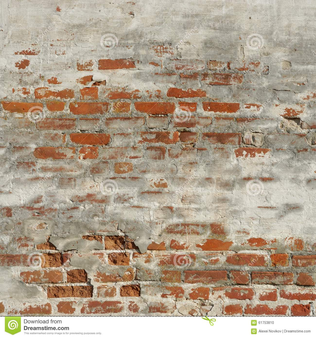 Rust Cement Wall : Red brick wall with damaged white plaster background stock