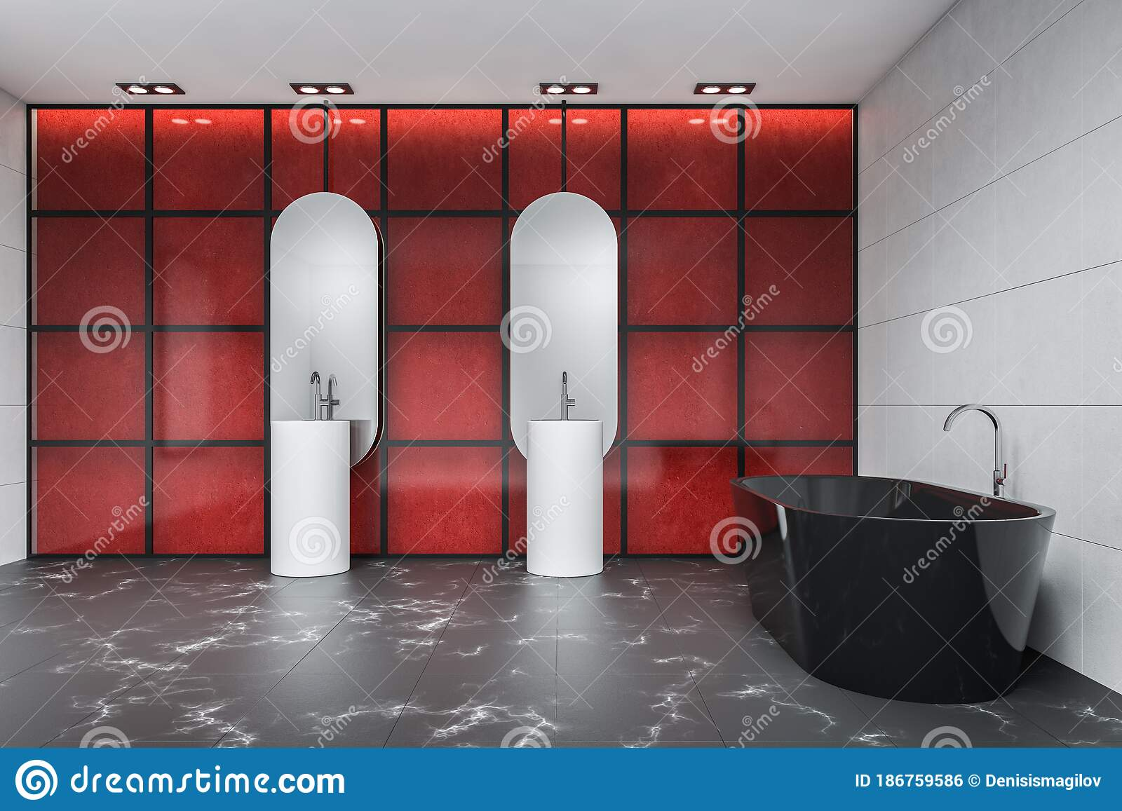 White And Red Tile Bathroom With Sink And Tub Stock Illustration Illustration Of Double Marble 186759586