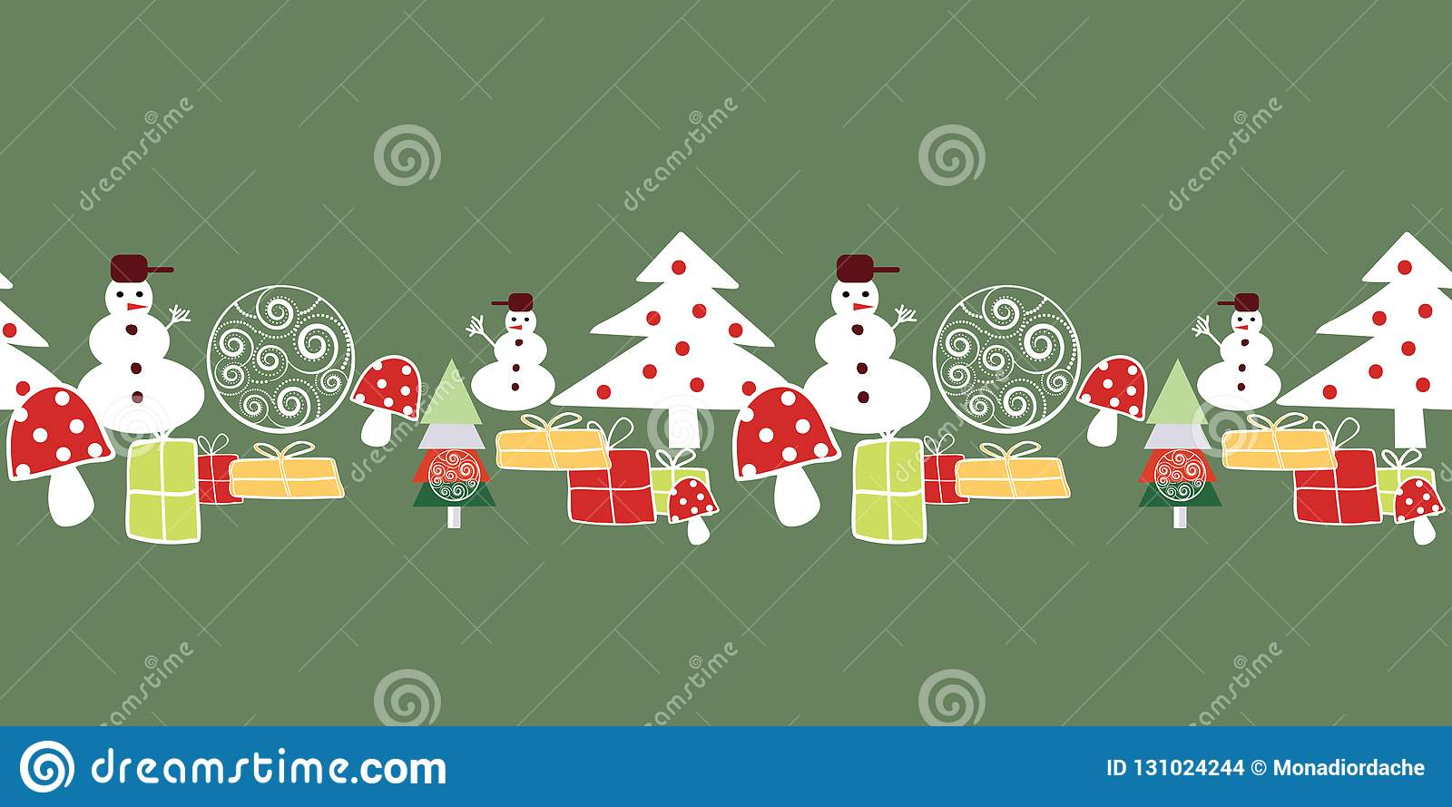 White Red And Yellow Christmas Tree Snowman Presents And