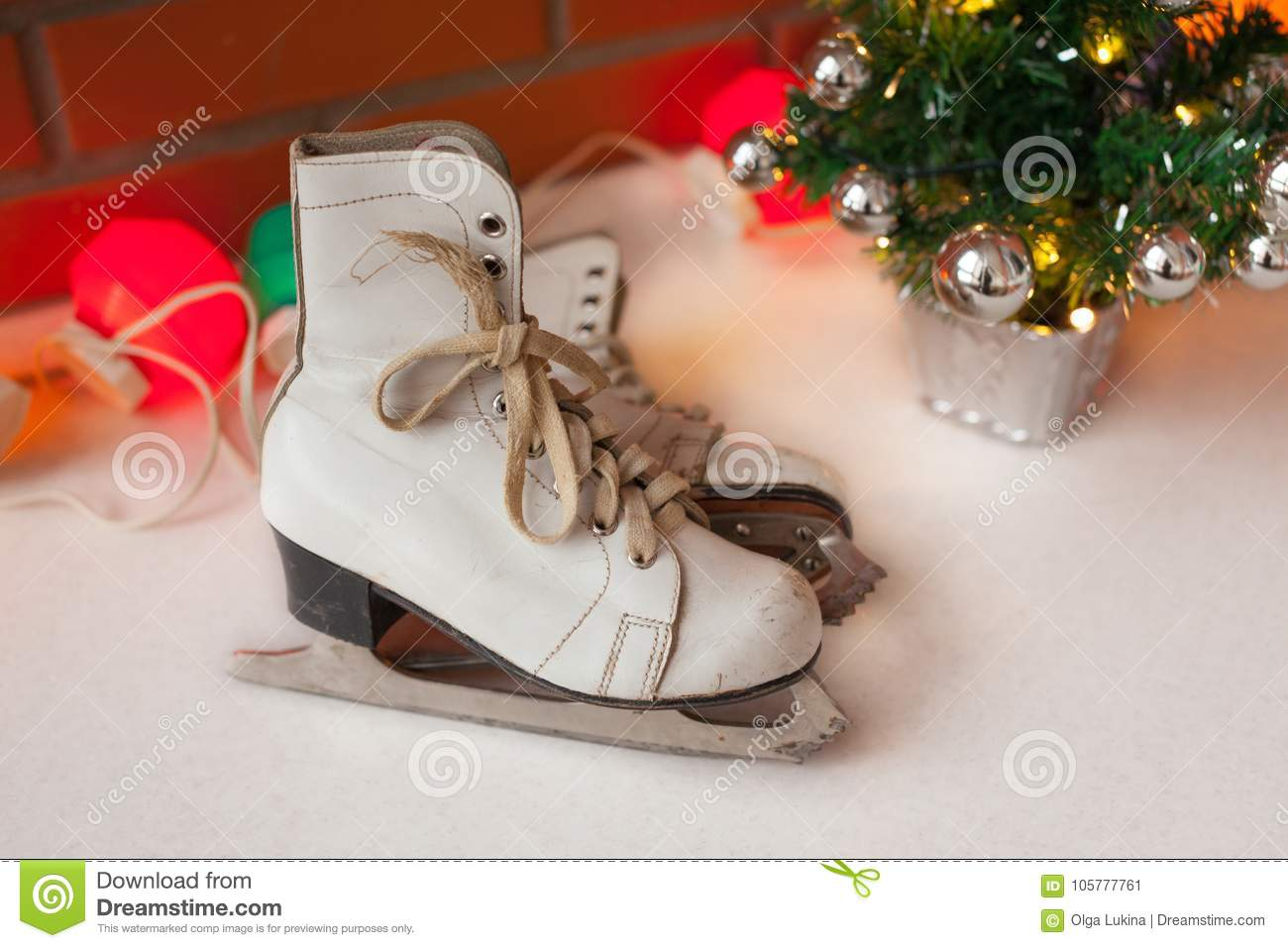 Christmas Sports Background.White Retro Skates Winter Sports Christmas And New Year