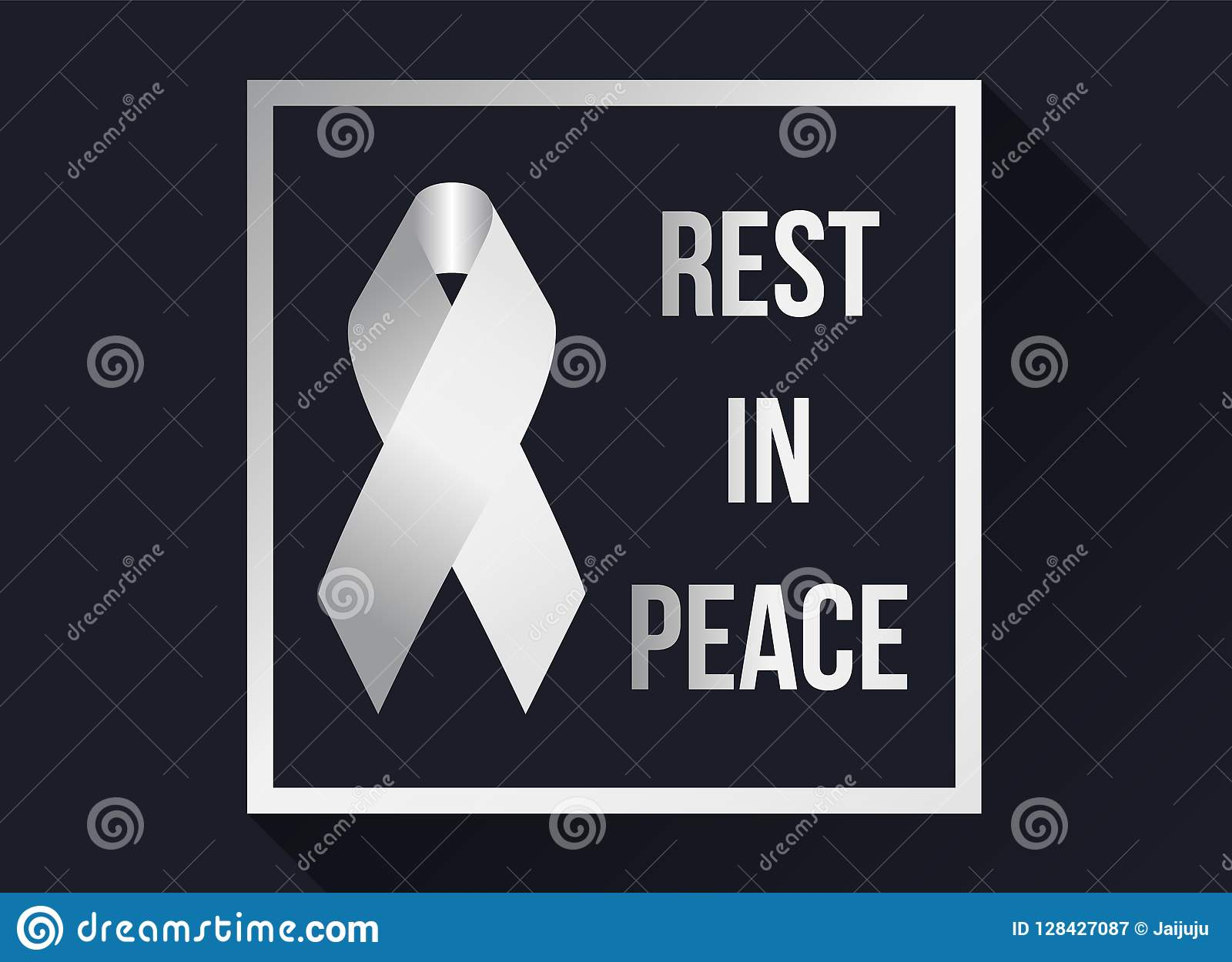 White Ribbon Sign And Rest In Peace Text In White Frame On Dark