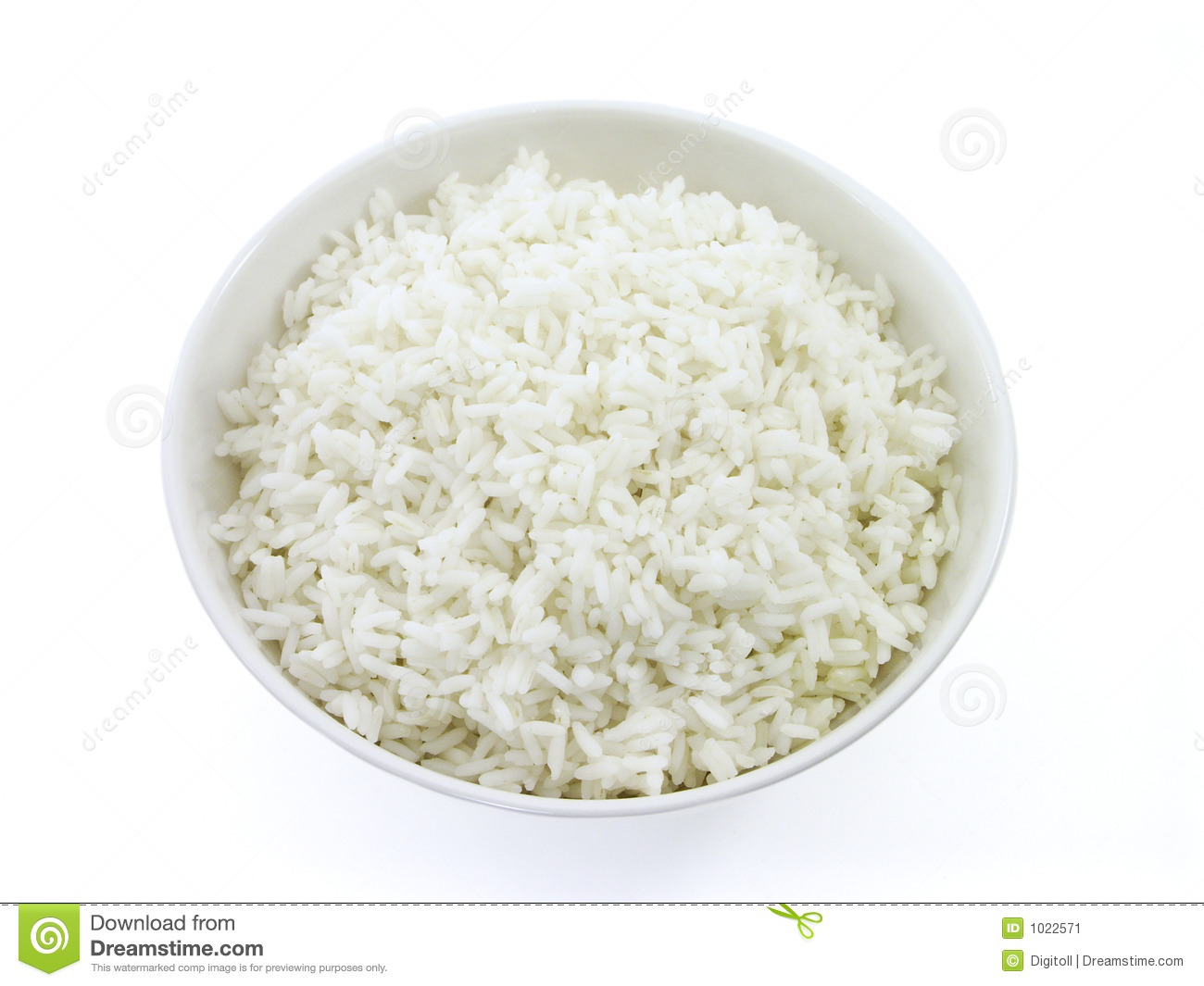 White rice in a bowl with white background (top view version)Click ...
