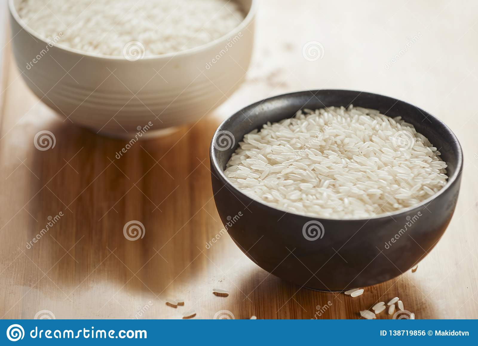 White rice in bowl on table. Concept asian food