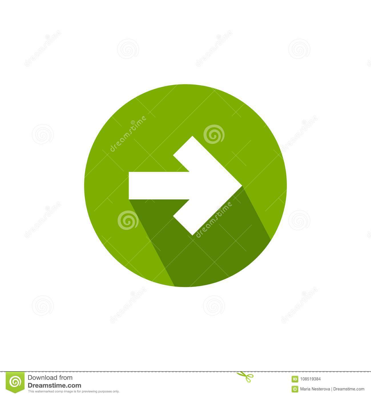 White Right Arrow With Shadow In Green Circle Icon Isolated On Continue