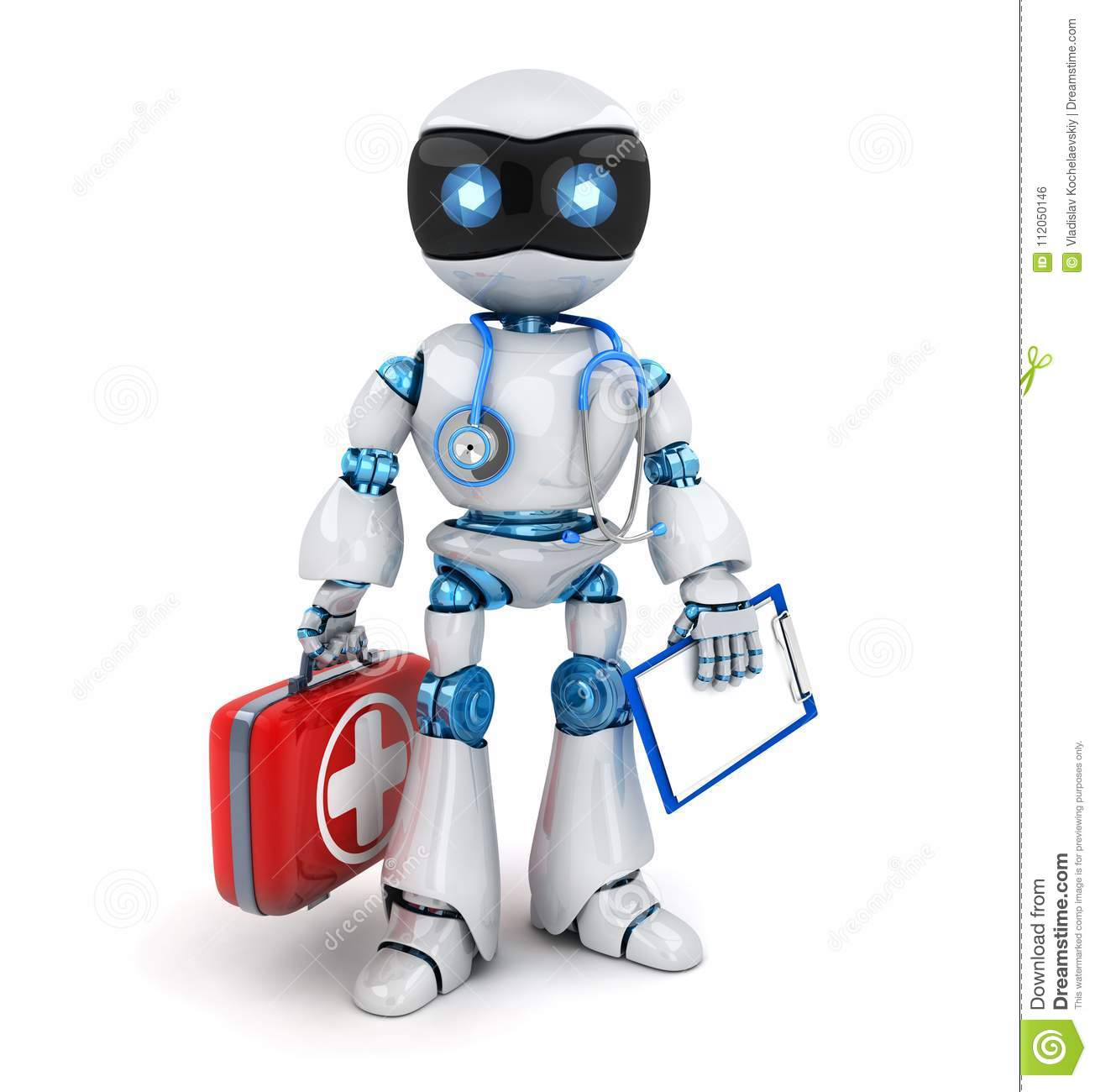 White Robot Doctor And Red Case, Stethoscope Stock ...