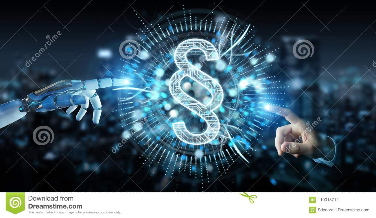 White robot hand using law paragraph digital hologram 3D rendering
