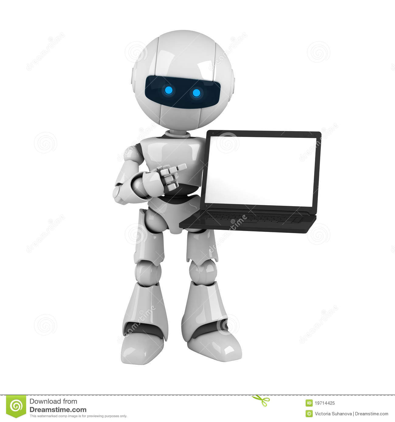 White Robot With Laptop Royalty Free Stock Photo Image