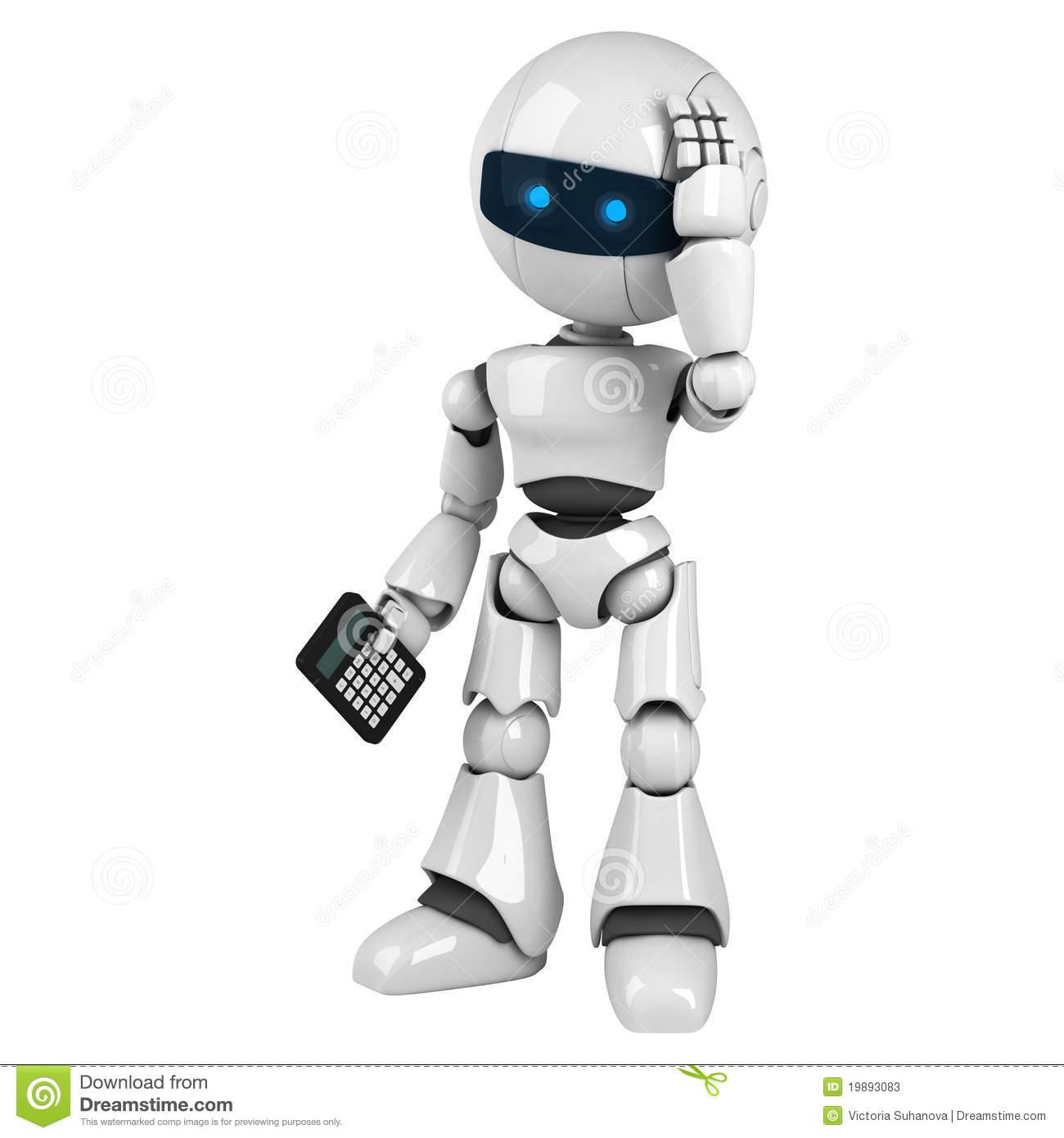 White Robot Stay With Calculator Stock Illustration ...