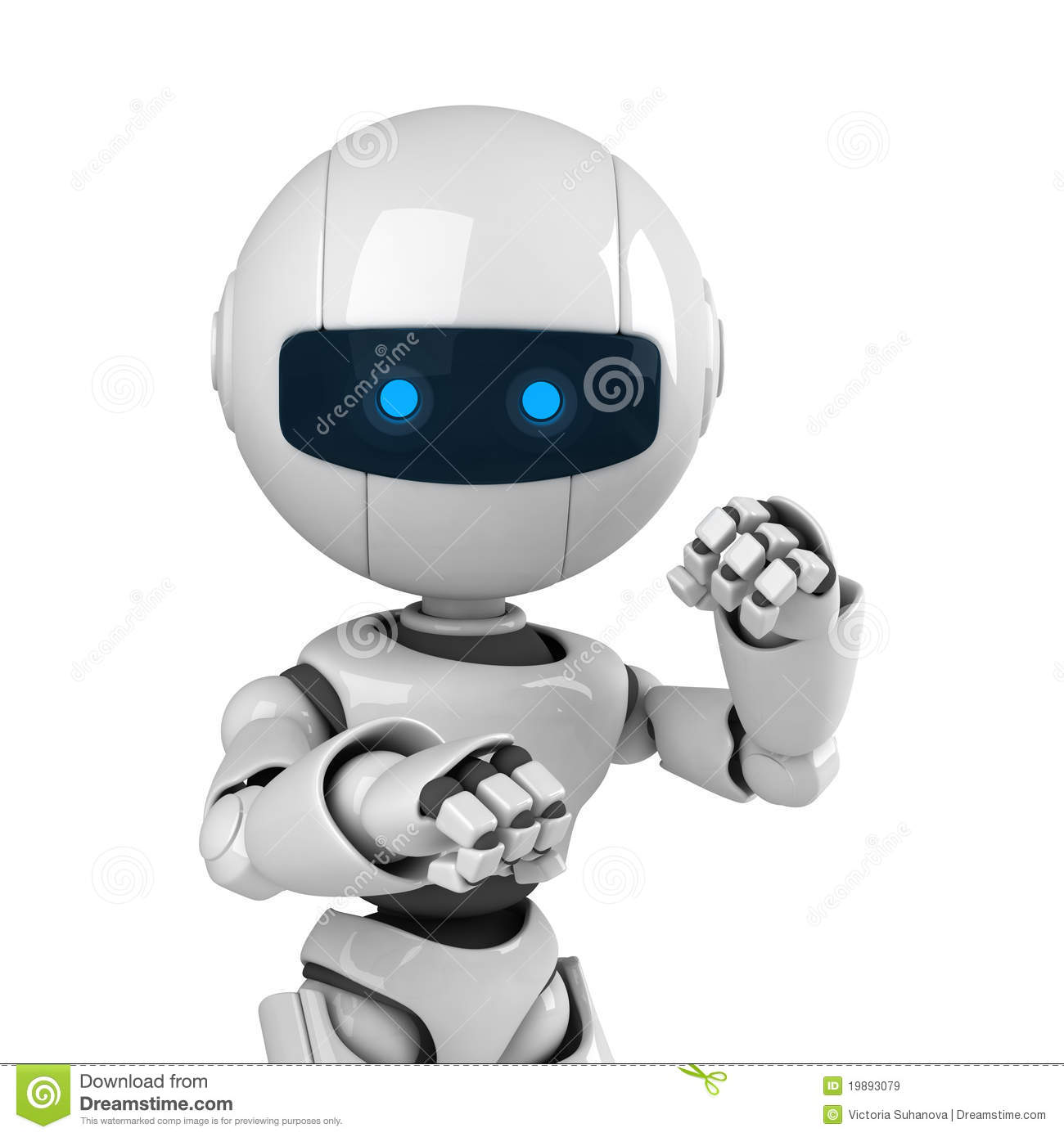 White Robot Stay In Fighting Pose Stock Illustration ...