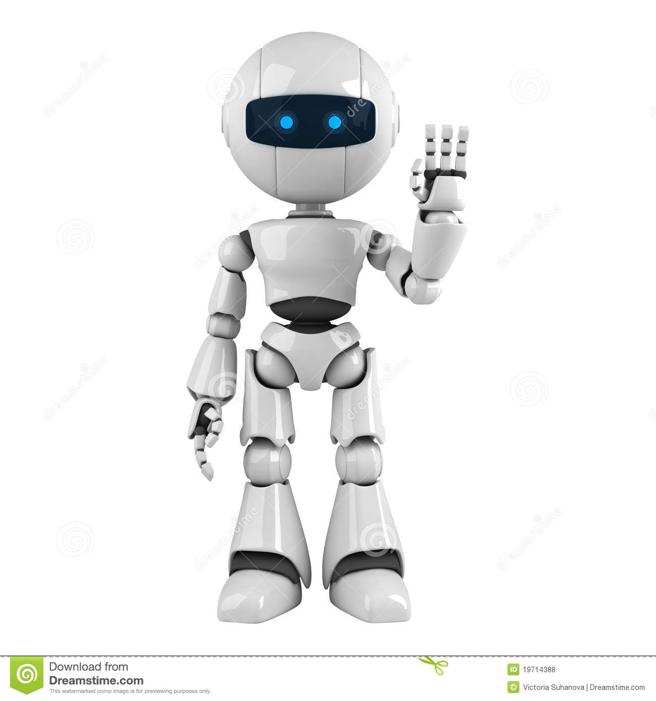 White Robot Stay Hello Royalty Free Stock Photos - Image: 19714388