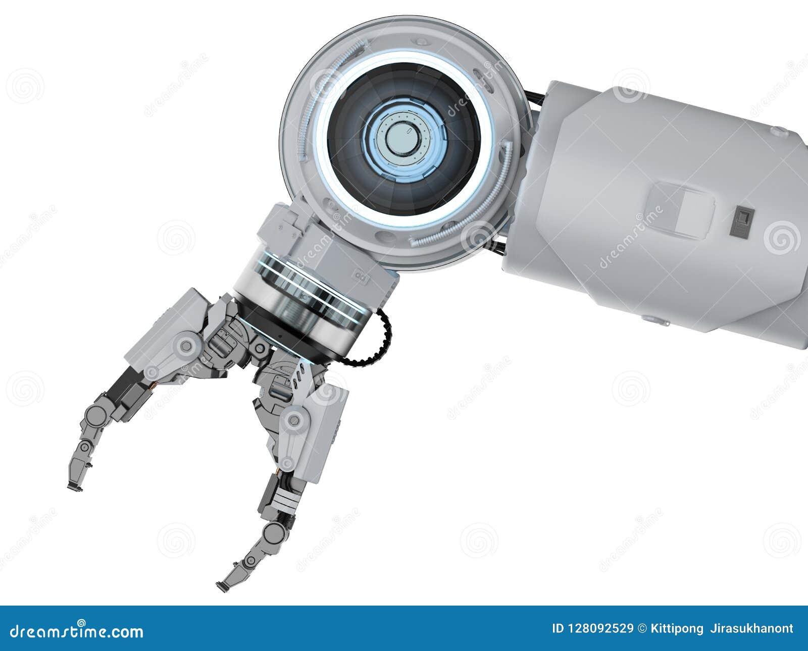 White robotic arm stock illustration  Illustration of mechanical