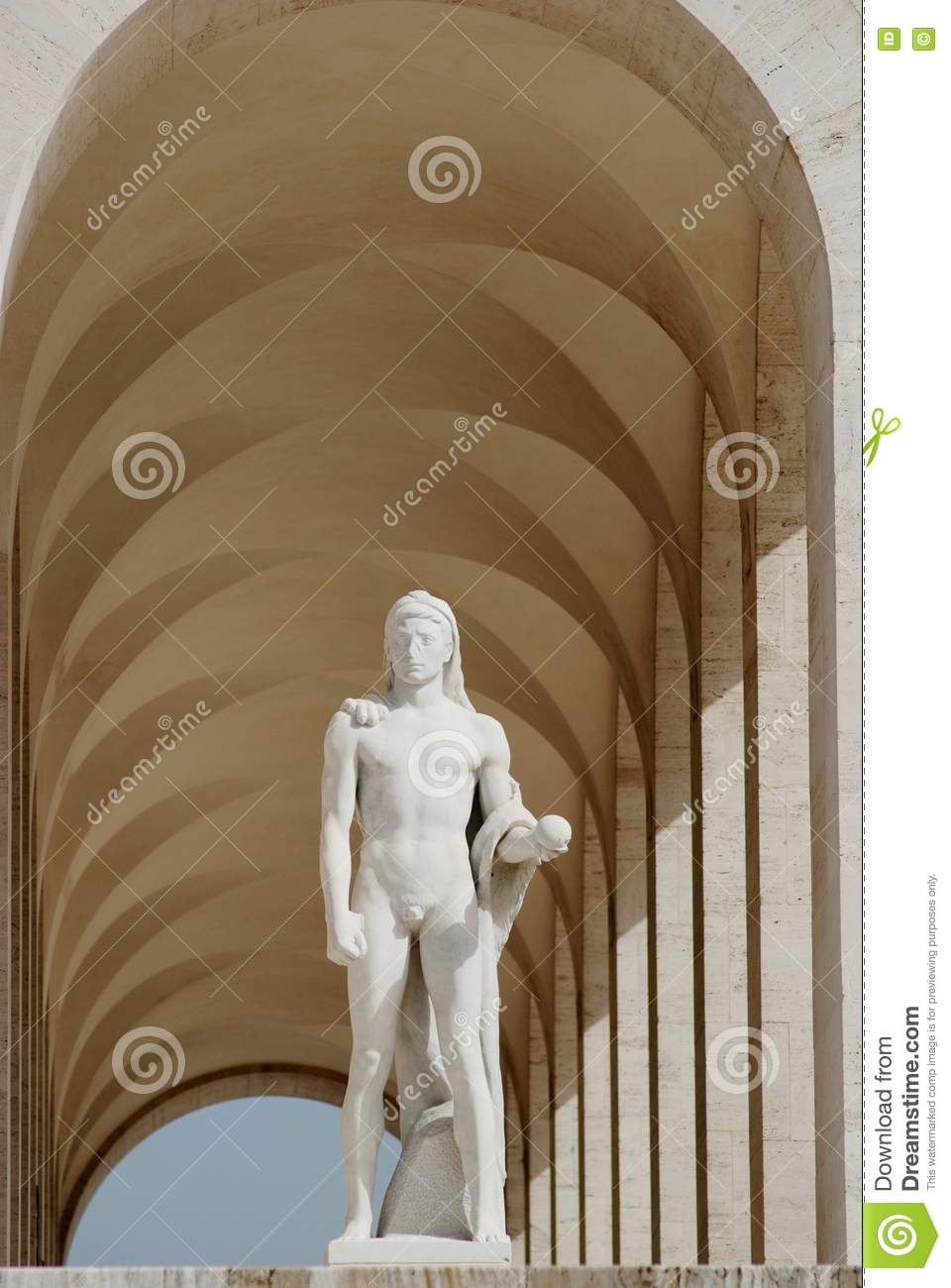 White roman archway with sculpture royalty free stock