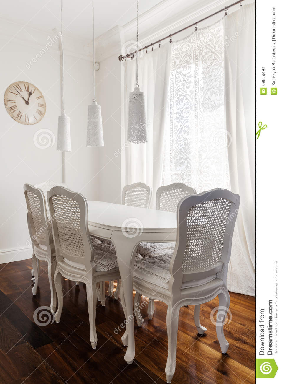 White Romantic Dining Room Stock Photo Image 69839492