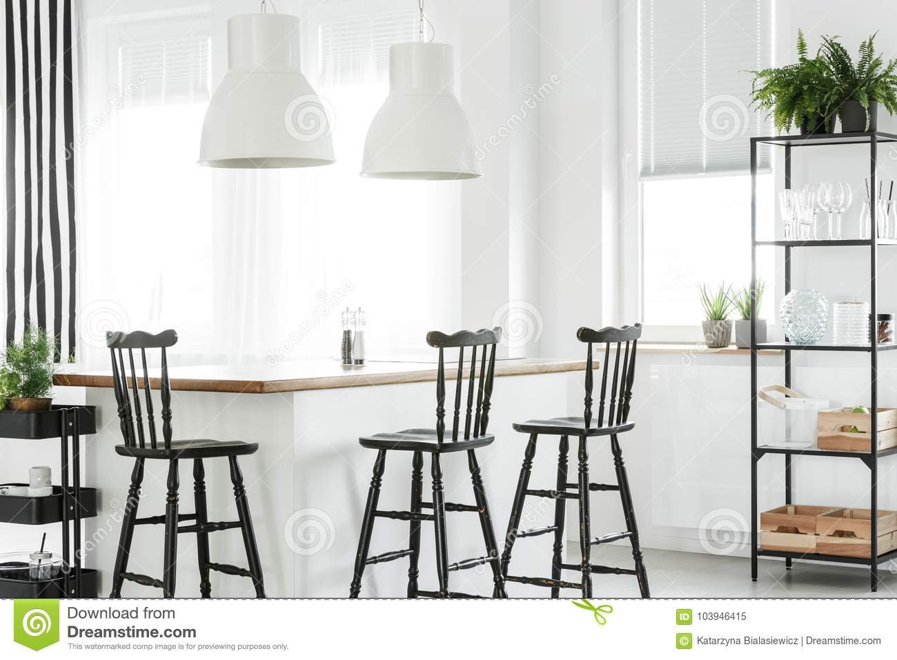 Download White Room With Bar Stools Stock Image Of Design