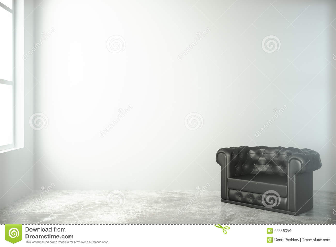 Black and white chair photography - White Room With Black Chair And Concrete Floor