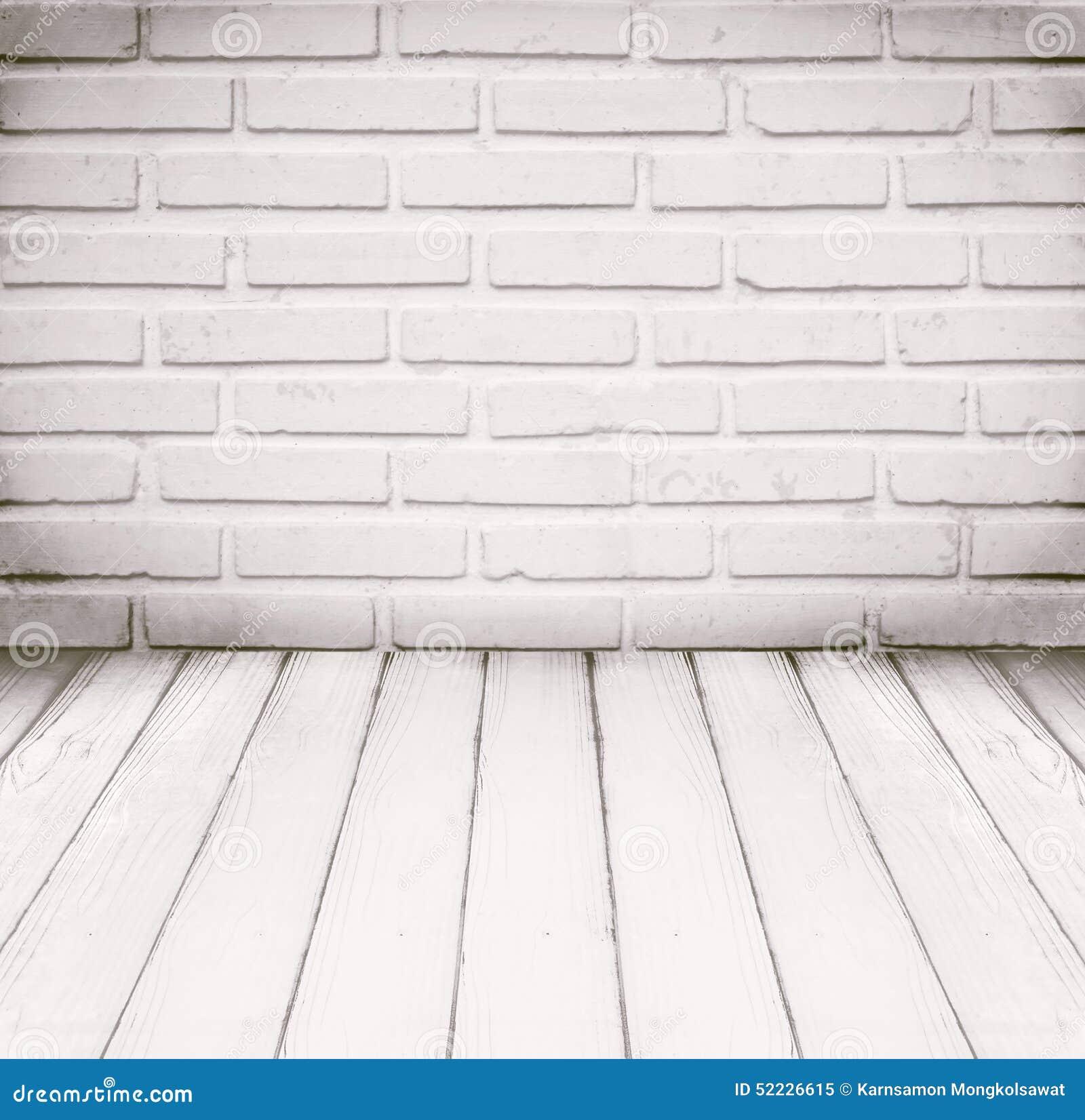 white wood floor background. White Room, Brick Wall And Wood Floor For Background