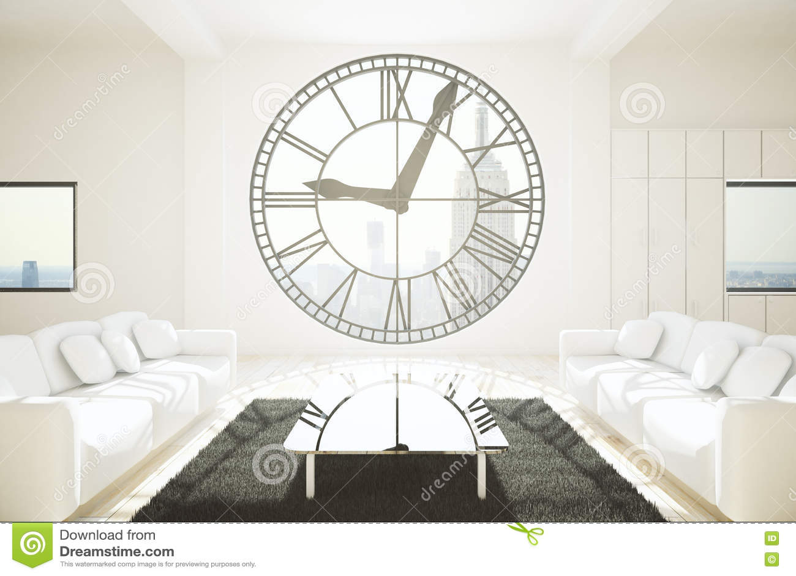 White Room With Clock Window Stock Illustration - Illustration of ...