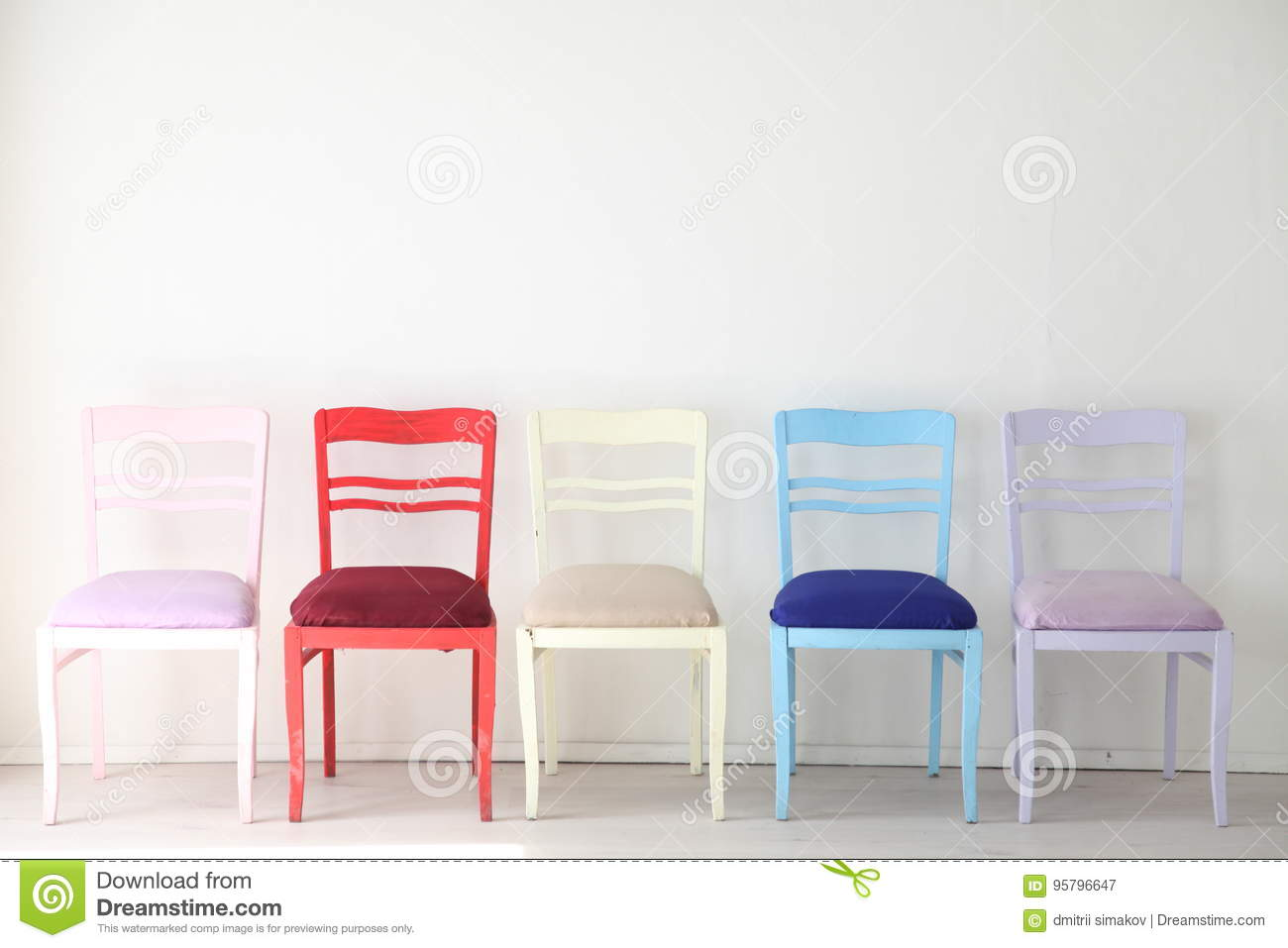 white room with colorful chairs blue yellow red blue purple stock rh dreamstime com