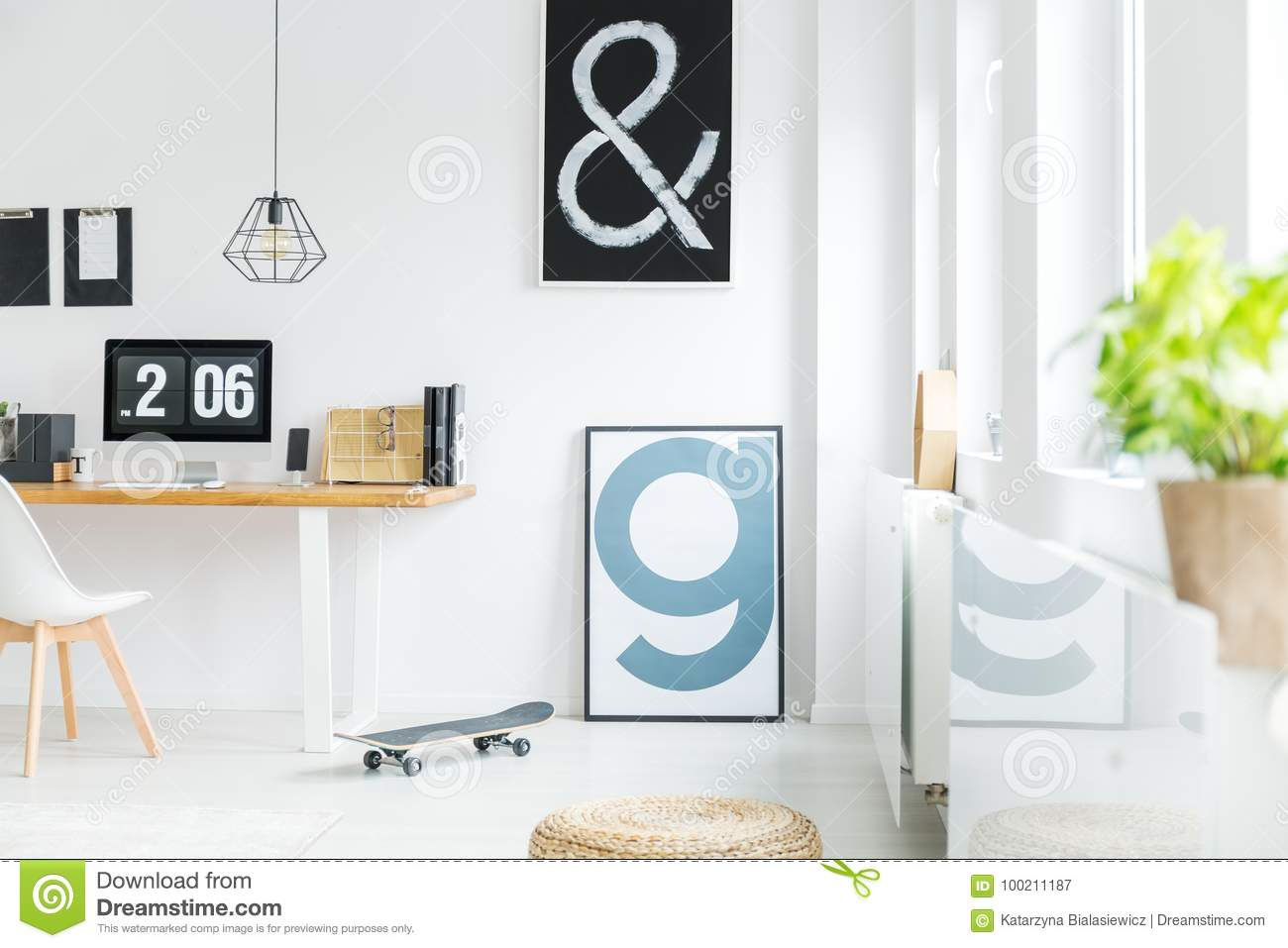 white room with letter posters stock image image of hipster