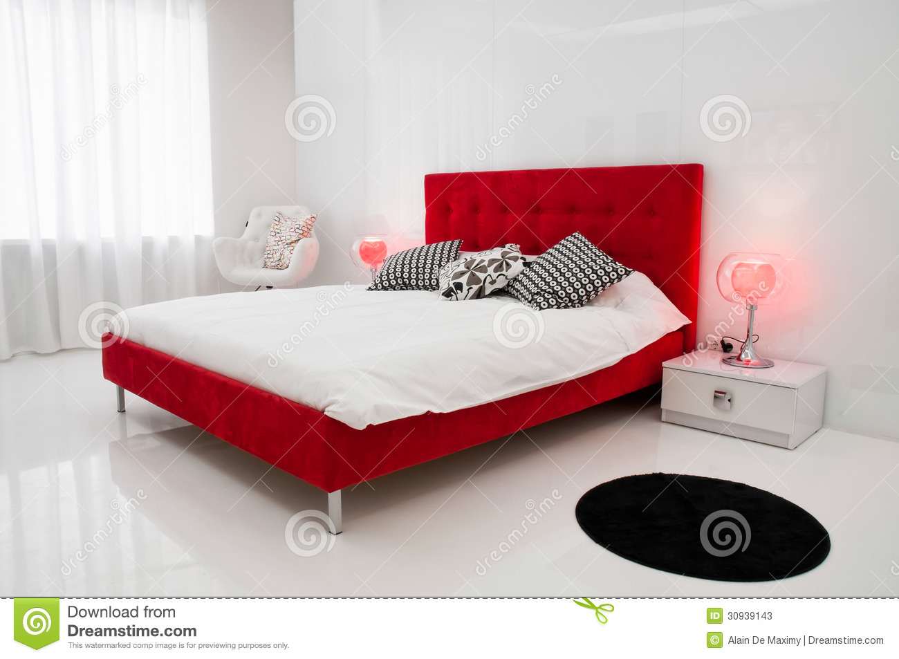 The White Room With A Red Bed Stock Image - Image of furniture ...