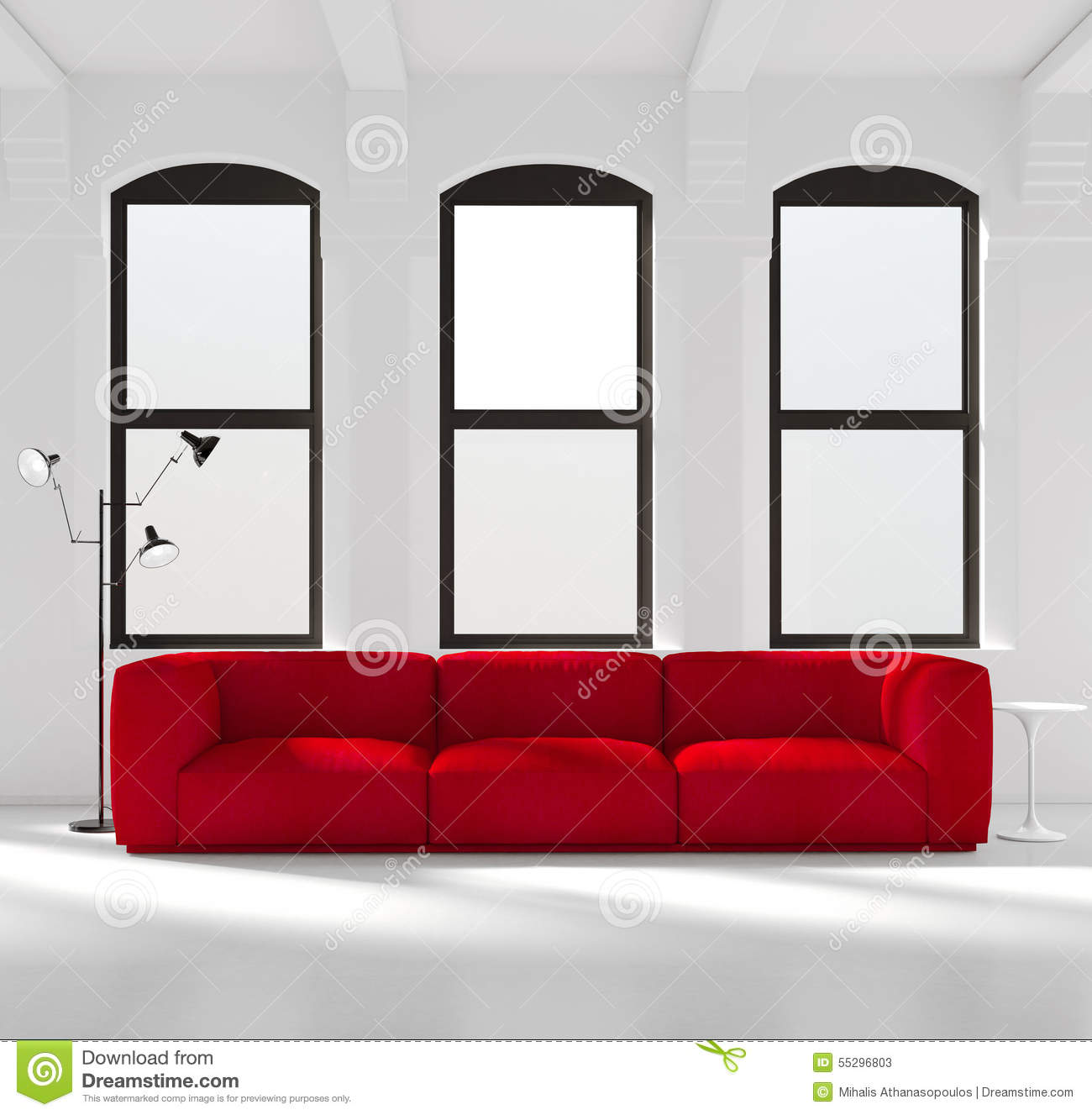White room with a red sofa stock image. Image of decoration - 55296803