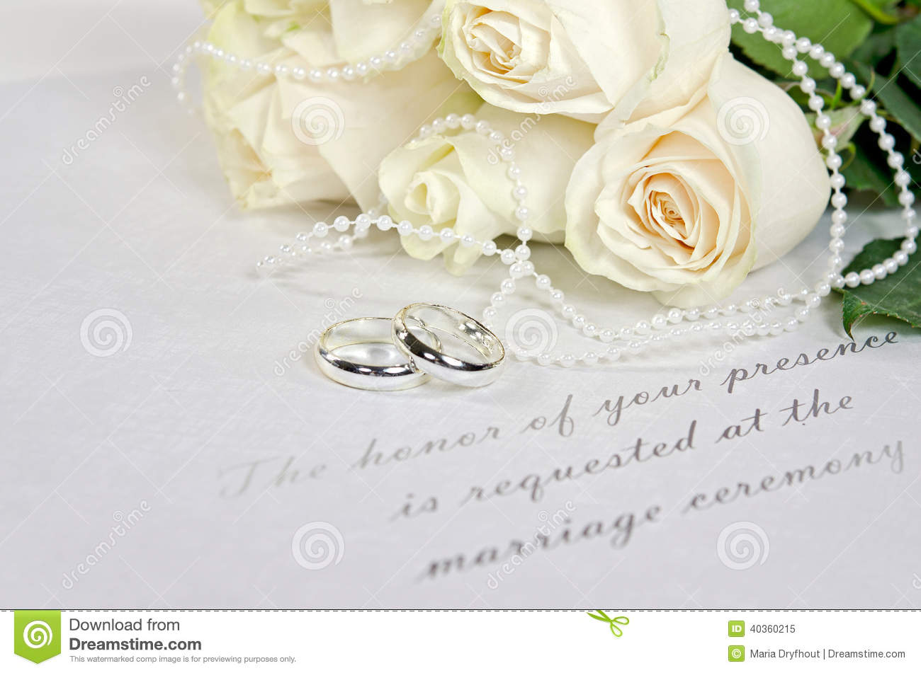 White Rose Bouquet And Wedding Rings Stock Image Image of invite