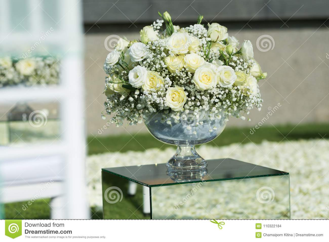 White Rose Flower Bouquet Decoration Setup On Wedding Ceremony Stock