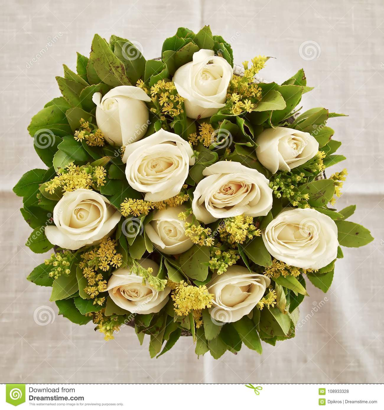 White Rose Flowers Bouquet Natural Background Stock Photo Image