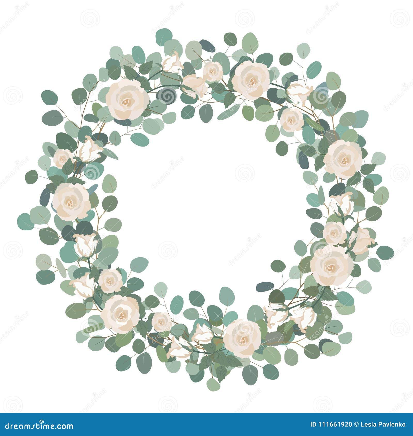Download White Rose Flowers And Silver Dollar Eucalyptus Garland Round Wreath Greeting Wedding
