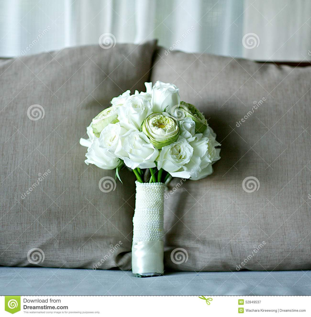 White rose and lotus flower wedding bouquet on bed stock photo bed bouquet fabric flower grey lotus rose wedding dhlflorist Images