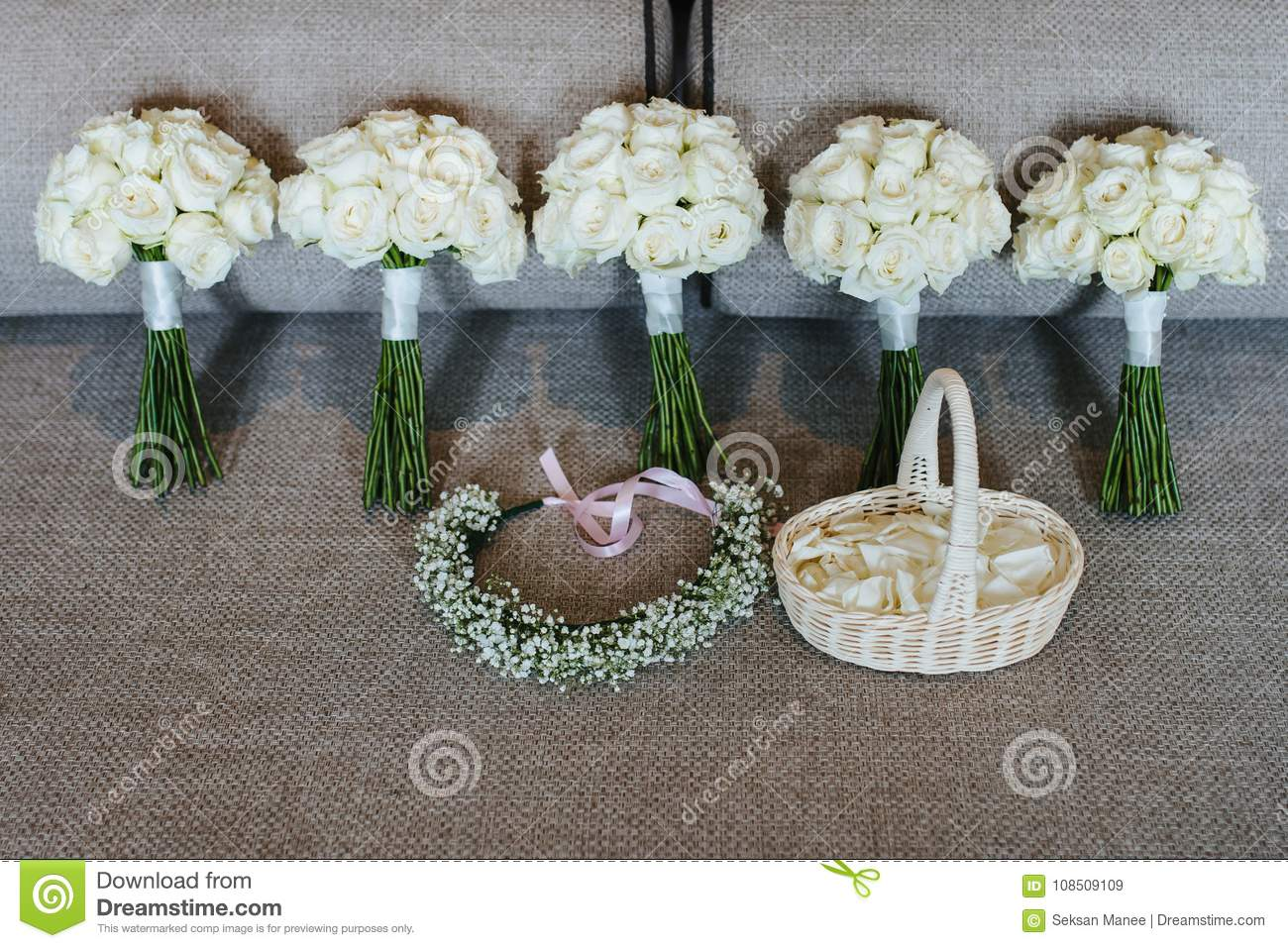 5 white roses bouquet with flower crown and the basket of rose download 5 white roses bouquet with flower crown and the basket of rose petals stock image izmirmasajfo