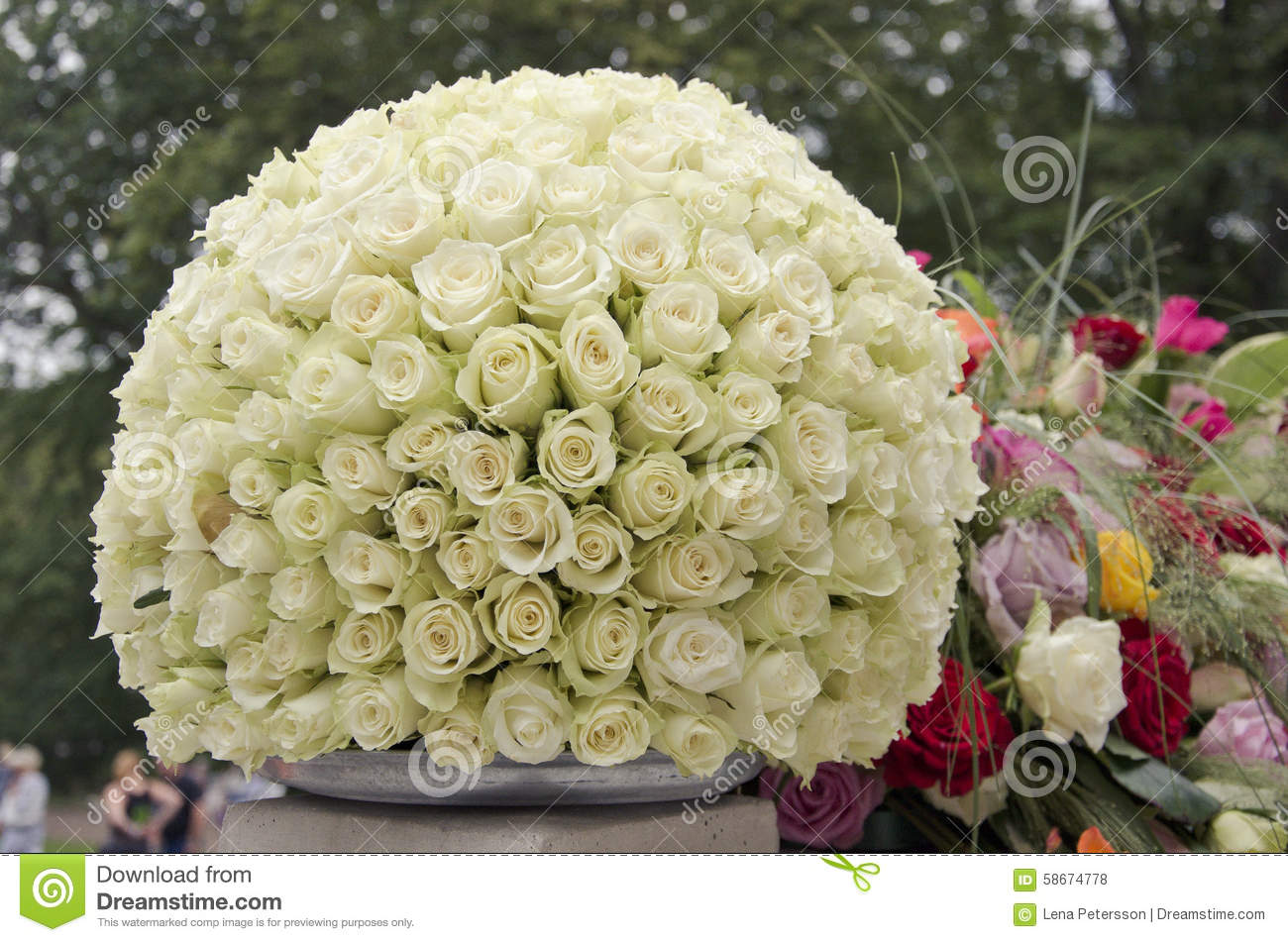 White roses centerpiece flower ball stock photo image of