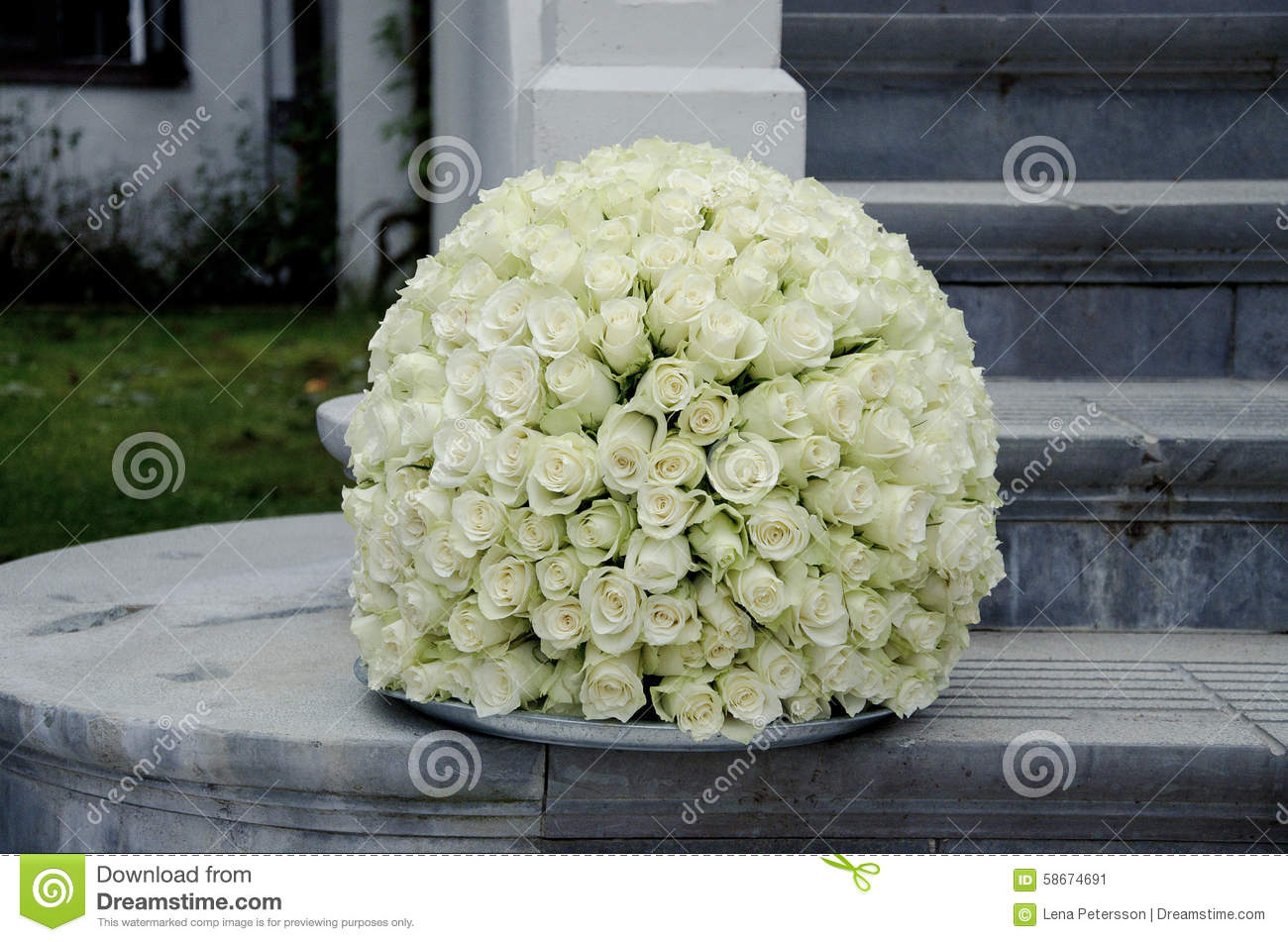 White roses centerpiece flower ball stock photo image