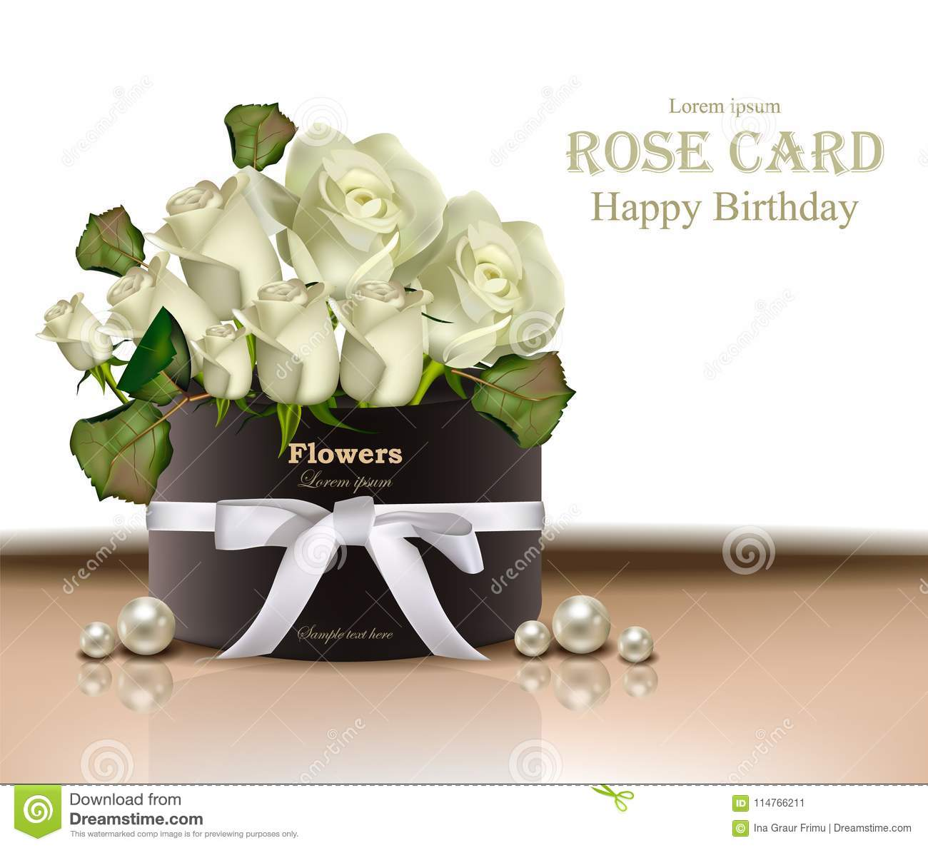 White Roses Flowers Bouquet Card Vector Realistic Beautiful