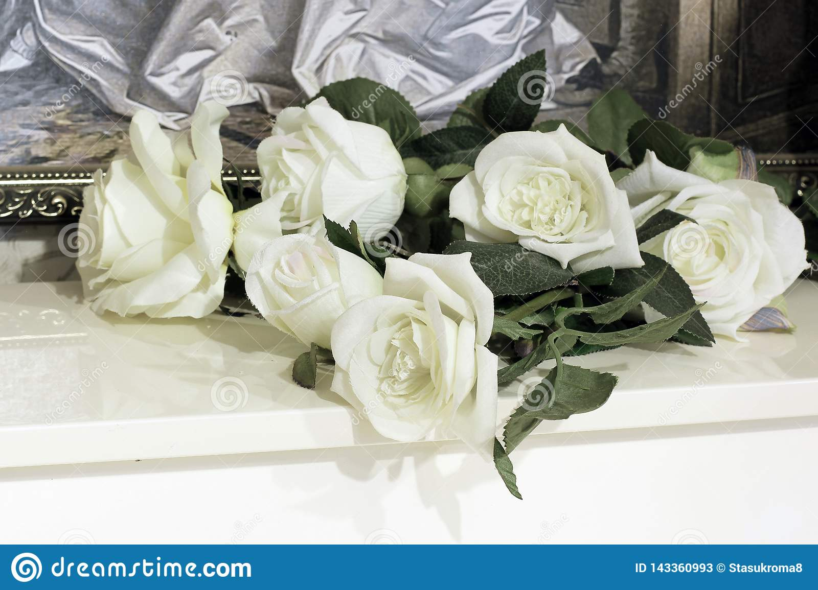 White roses on the piano stock image. Image of instrument ...