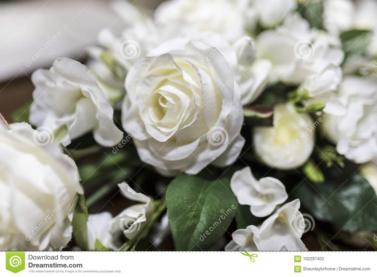 White Roses Wedding Bouquet Of Flowers Shot Close Up With A Shal