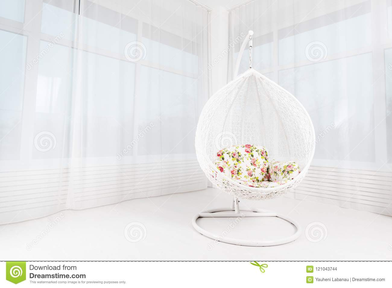 Image of: White Round Chair With Flowers In A Light Large Living Room Con Stock Photo Image Of Interior Celebration 121043744