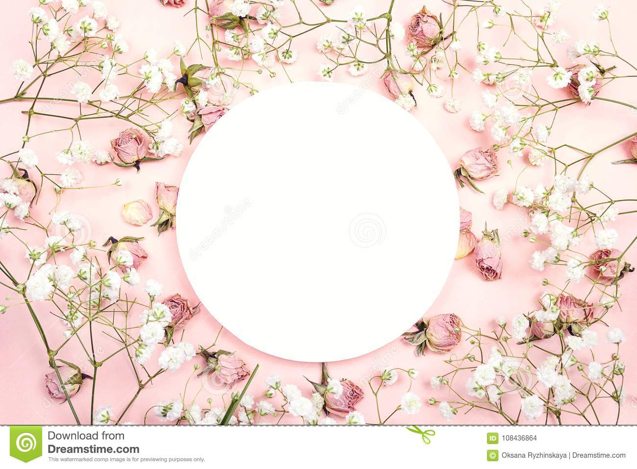 White round frame with small delicate white flowers and roses on download white round frame with small delicate white flowers and roses on stock photo image mightylinksfo