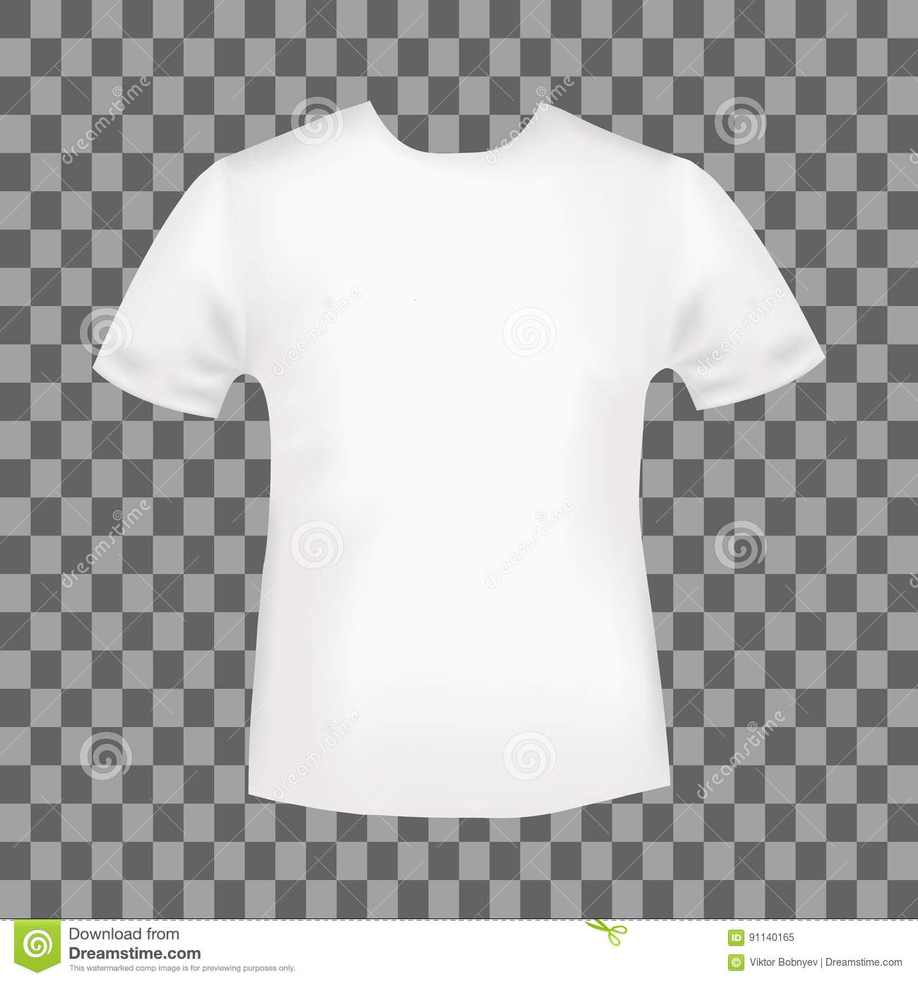 4865bac0760846 White round neck t-shirt template. Blank front view t shirt mockup design.  Vector illustration.