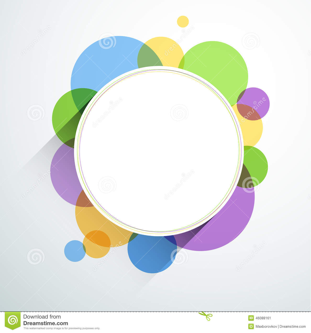 White Round Note Over Color Bubbles. Stock Vector ...
