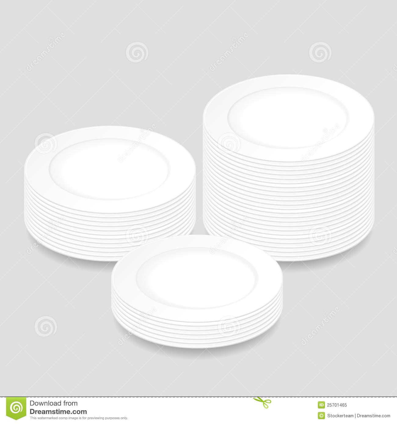 white round plates stacked in three piles royalty free. Black Bedroom Furniture Sets. Home Design Ideas