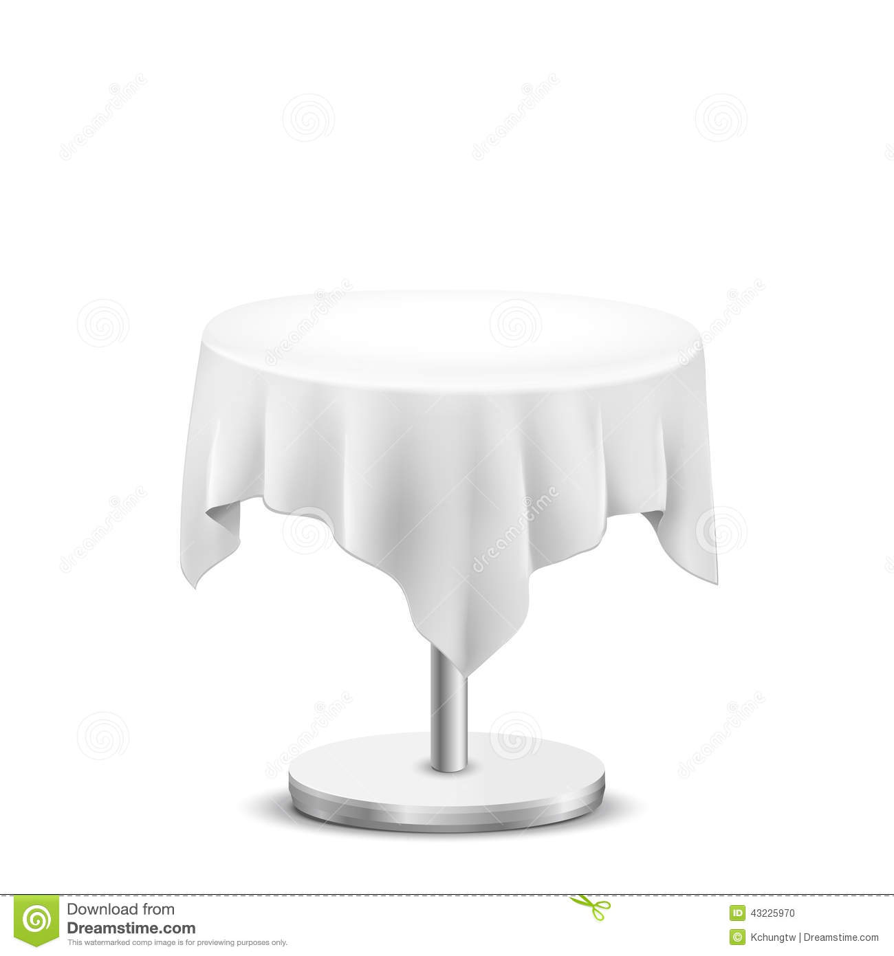 White Round Table With Cloth Stock Vector Image 43225970