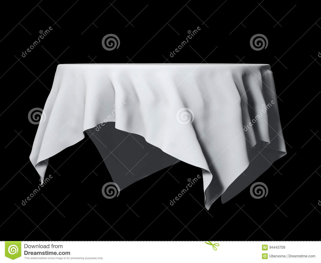 White Round Table Cloth Mockup Isolated On Black 3d Illustration