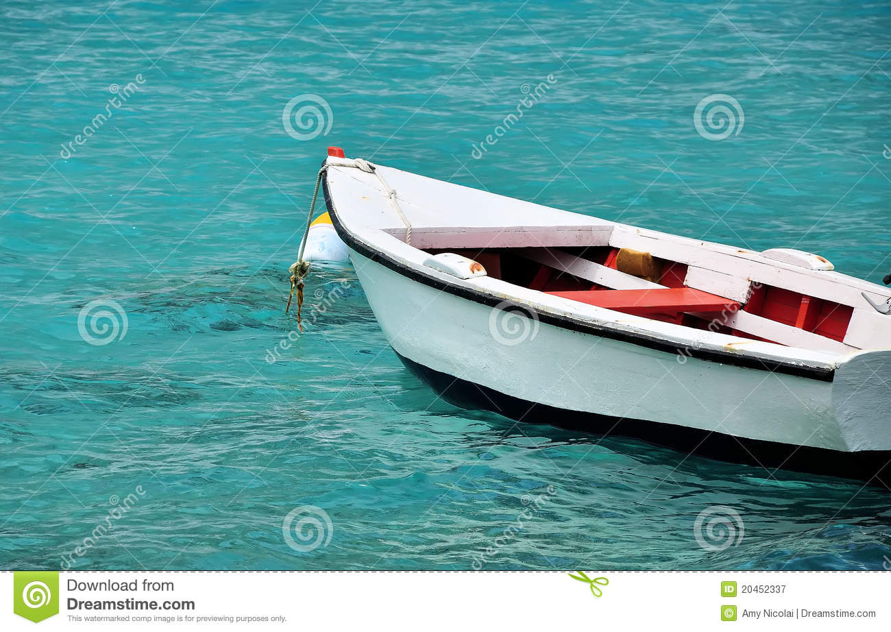 White Row Boat In Clear Blue Water Royalty Free Stock Photography - Image: 20452337