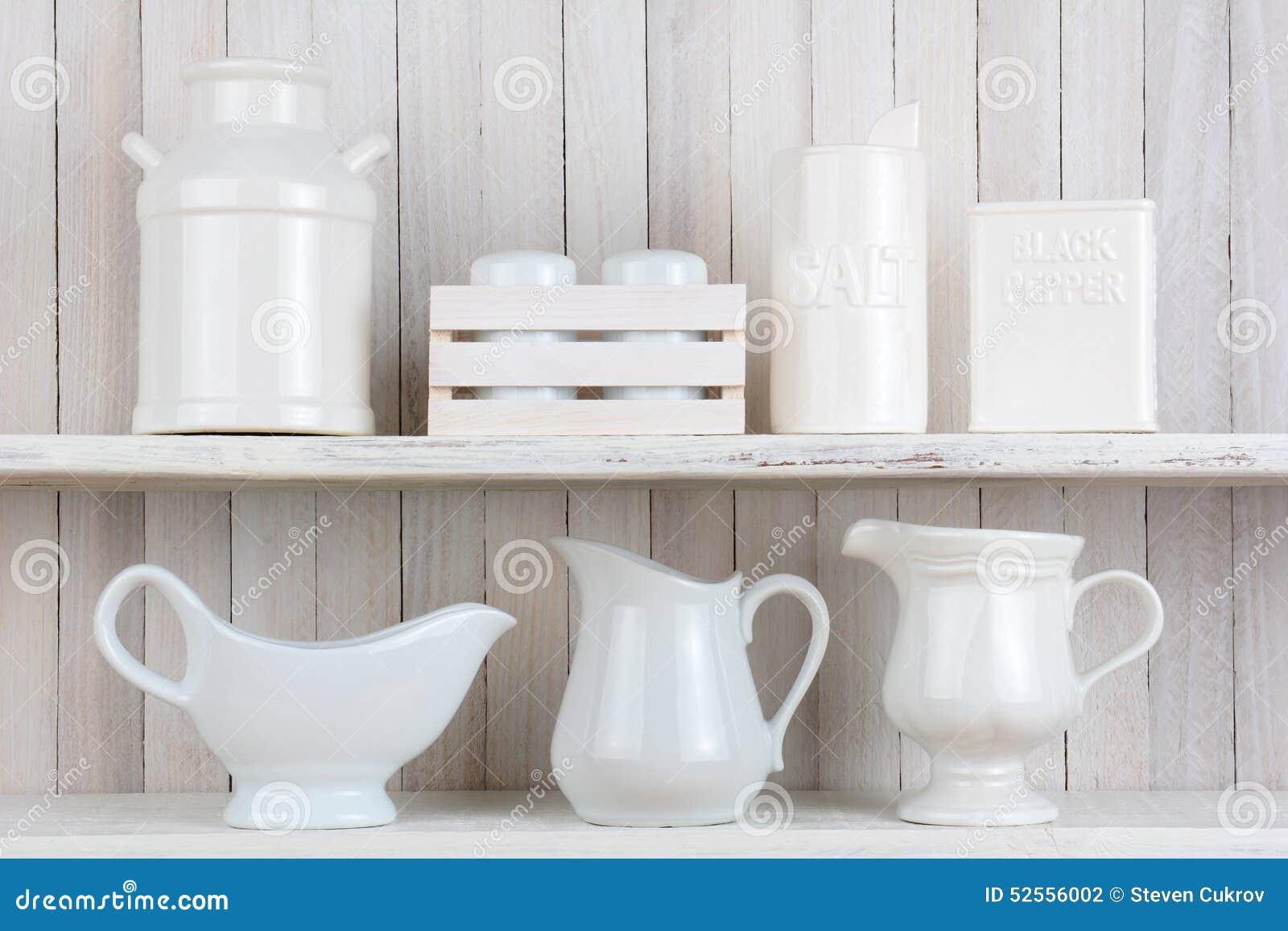 White Rustic Kitchen Shelves Stock Photo - Image of pepper, salt ...