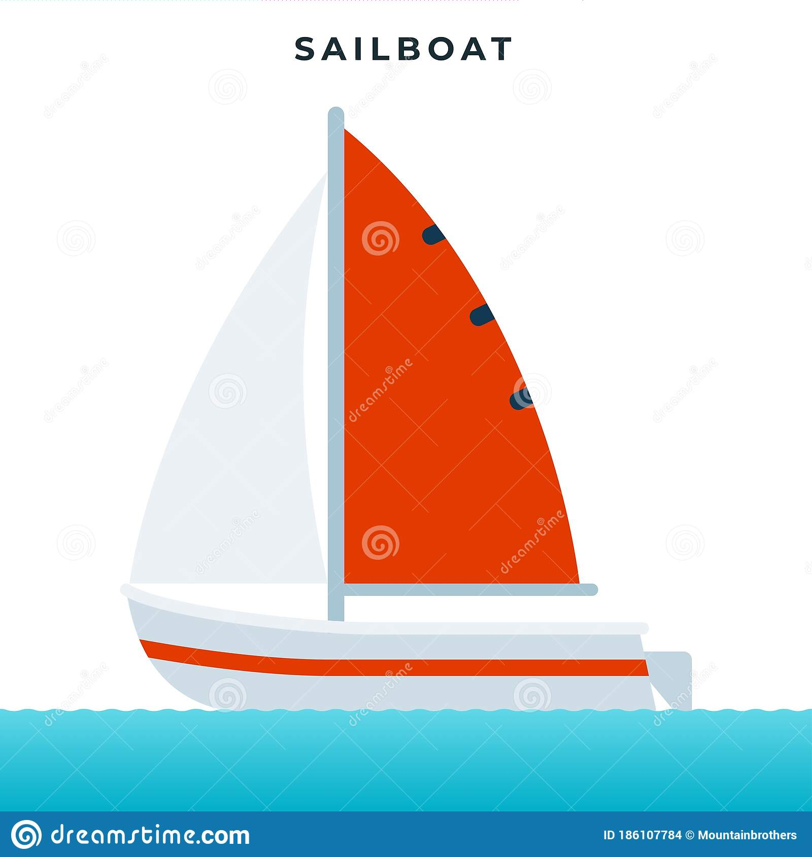 Sailboat Pleasure Boat Using Sails As The Main Means Of Propulsion Vector Icon Flat Isolated Stock Vector Illustration Of Floating Symbol 186107784